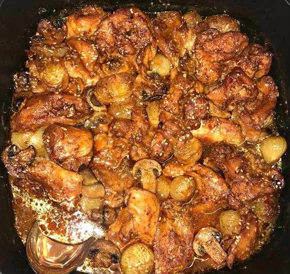 פרגיות בצלצלי שאלוט ופטריות בתנור 2