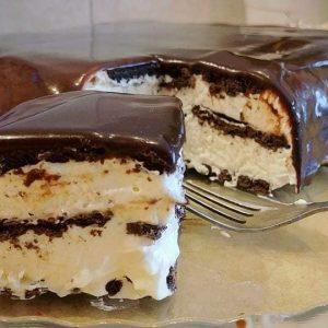 עוגת ביסקוויטים שוקולד וגבינה