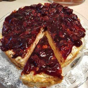 עוגת גבינה אפויה על בסיס בצק פריך